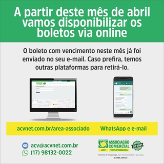 ACV disponibiliza boletos via online