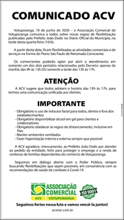 COMUNICADO ACV - Flexibilização abertura